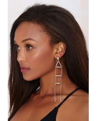 Nasty Gal | Metallic Streetheart Bar Earrings | Lyst
