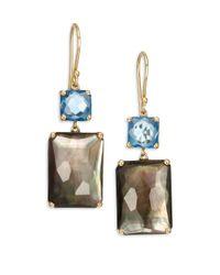 Ippolita | Metallic Gelato London Blue Topaz, Black Shell, Clear Quartz & 18k Yellow Gold Rectangle Double-drop Earr | Lyst
