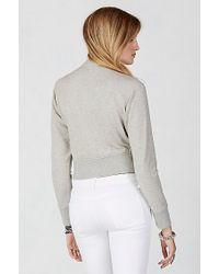 True Religion | Gray Big T Terry Zip Womens Sweatshirt | Lyst