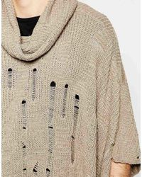 ASOS - Brown Knitted Poncho With Laddering for Men - Lyst