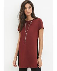 Forever 21 | Purple High-slit Longline Tee | Lyst