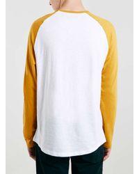 TOPMAN Yellow/white Slub Long Sleeve Raglan T-shirt for men
