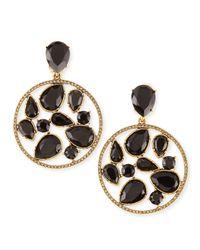 Oscar de la Renta Black Round Multi-stone Clip-on Earrings