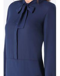 Bebe | Blue Tie Neck Tunic | Lyst