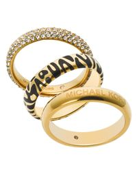 Michael Kors | Metallic Animal Print & Pavé Rings, Set Of 3 | Lyst