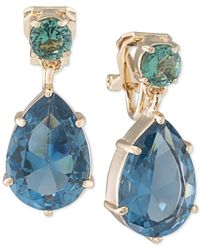 Carolee | Metallic Gold-tone Blue Crystal Pear-shaped Double Drop Earrings | Lyst