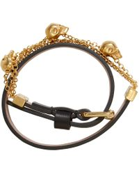 Alexander McQueen | Black And Gold Charm Bracelet | Lyst