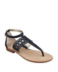 Ivanka Trump | Black Pili Leather Sandals | Lyst