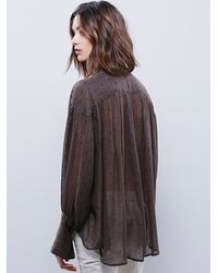 Free People | Green Star Point Blouse | Lyst
