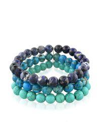Lord & Taylor | Blue Triple-Strand Beaded Bracelet | Lyst