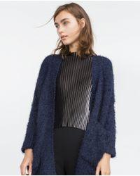 Zara | Black Two-tone Bouclé Cardigan | Lyst