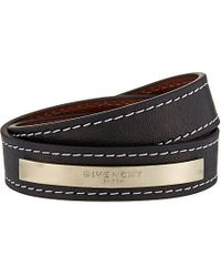 Givenchy | Brown Leather Logo Plaque Bracelet | Lyst