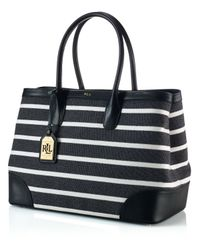 Lauren by Ralph Lauren - Black Tote - Fairfield Stripes City - Lyst