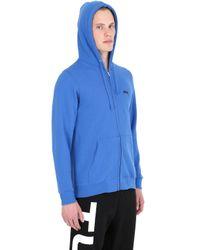 Stussy Blue Hooded Zip-up Cotton Blend Sweatshirt for men