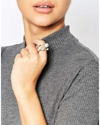 Oasis | Metallic Pave Ball And Pearl Ring Set | Lyst