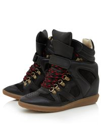 Isabel Marant - Black Calfskin 'Buck' High Top Hidden Wedge Sneakers - Lyst