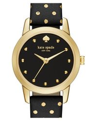 kate spade new york | Black 'mini Metro' Leather Strap Watch | Lyst