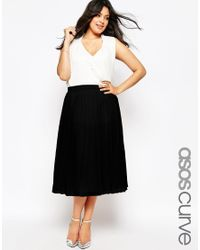 ASOS - Black Curve Pleated Midi Skirt - Lyst