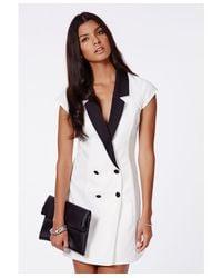 Missguided - White Danielle Monochrome Tux Dress - Lyst