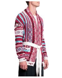 Laneus - White Cotton Jacquard Cardigan With Belt for Men - Lyst