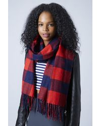 TOPSHOP Red Double Face Gingham Scarf