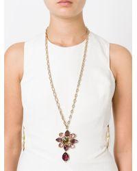 Alberta Ferretti Metallic Crystal Flower Pendant Necklace