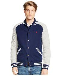 Polo Ralph Lauren Blue Fleece Baseball Jacket for men