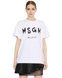 MSGM White Oversized Printed Cotton T-Shirt