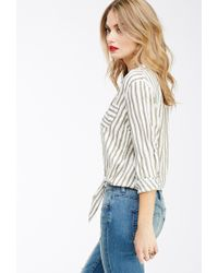Forever 21 | Natural Contemporary Tie-front Striped Shirt | Lyst