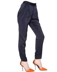 Vionnet - Blue Silk Jersey Trousers - Lyst