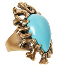 Oscar de la Renta Metallic Turquoise Coral Branch Resin Ring