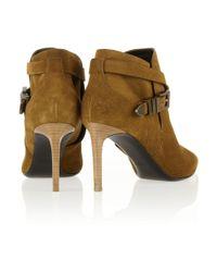 Saint Laurent - Natural Suede Ankle Boots - Lyst