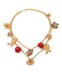 Alexander McQueen | Metallic Mixed Flower Charm Necklace | Lyst