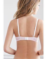 Forever 21 Pink Lacy Cotton-blend Striped Bikini Set