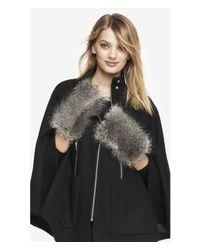 Express - Faux Gray Fox Fur Fingerless Mittens - Lyst
