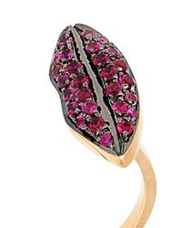 Delfina Delettrez - Ruby, Pearl & Yellow-Gold Ring - Lyst