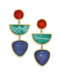 Lizzie Fortunato | Multicolor The Beldi Carnelian, Amazonite & Dumortierite Linear Drop Earrings | Lyst