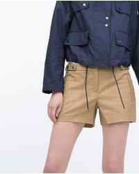 Zara | Natural Shorts With Press-stud Waist | Lyst