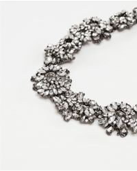 Zara | Metallic Crystal Gem Necklace | Lyst