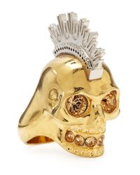 Alexander McQueen - Metallic Two-tone Punk Skull Ring - Lyst