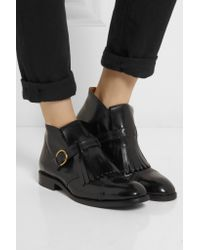 Marc Jacobs Black Monk-strap Glossed-leather Ankle Boots