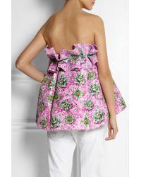 Mary Katrantzou Pink Ruffletrimmed Pleated Printed Satintwill Top