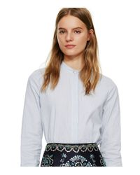 Tory Burch | Blue Poplin Button-down Shirt With Feather Collar | Lyst
