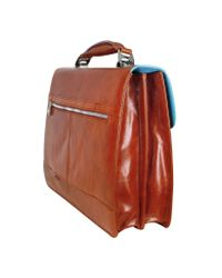 Piquadro Black Blue Square - Leather Two-Gusset 15 Laptop Briefcase for men