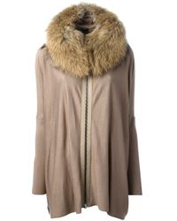 Hotel Particulier Brown Fur Collar Zipped Sweater