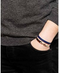 ASOS - Blue Bangle Pack In Gold And Navy for Men - Lyst