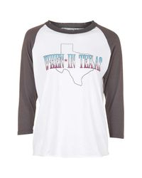 TOPSHOP - White When In Texas Raglan Top By Project Social T - Lyst