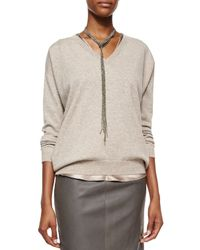 Brunello Cucinelli | Metallic Long Pull-through Pyrite Necklace | Lyst