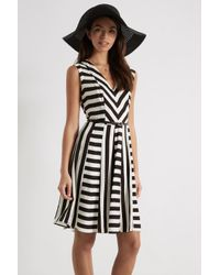 Oasis Black Cut About Stripe V-neck Dress