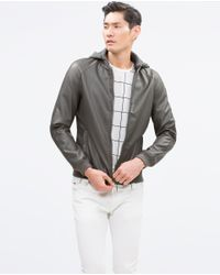 Zara | Gray Faux Leather Jacket for Men | Lyst